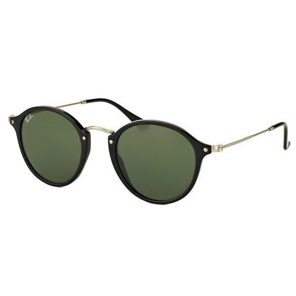 d368129d2fb4 Shop Ray-Ban RB 2447 901 Black Plastic Round Sunglasses Green Lens ...
