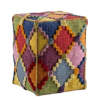 Hand-woven Indo Baptiste Multi Pouf (20-inch x 16-inch x 16-inch)