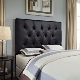 Full/ Queen Tufted Brown Faux Leather Headboard