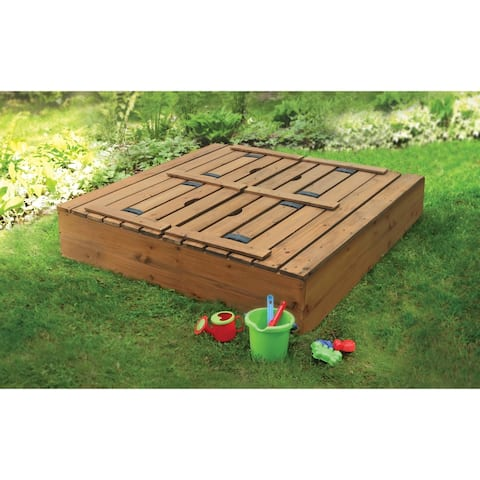 Badger Basket Covered Cedar Sandbox with Benches and Seat Pads - 46.5 inches L x 46.5 inches W x 9.5 inches H