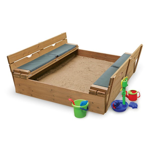 Badger Basket Covered Convertible Cedar Sandbox With Two