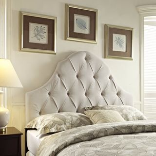 Off-white Round Top Tufted Full/ Queen Headboard