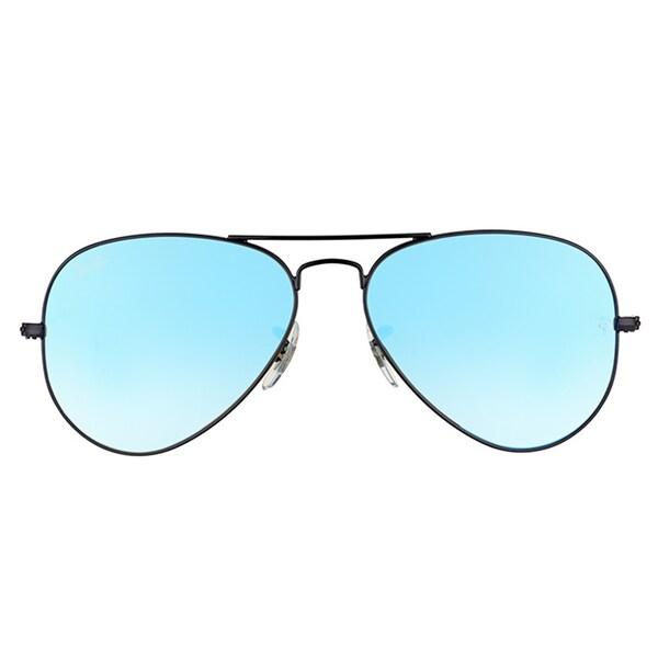 ray ban aviator blue mirror lens black frame