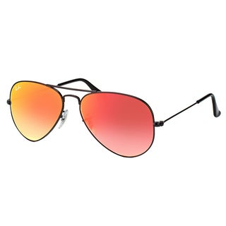 Ray-Ban RB 3025 002/4W Classic Aviator Shiny Black Metal Aviator Sunglasses Red Gradient Mirror Lens