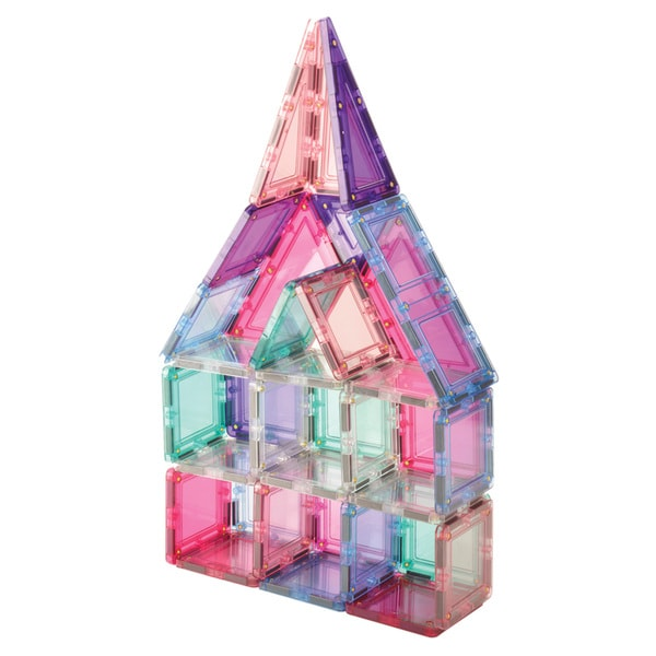 MagWorld Toys Pastel 3D Magnetic Building Tiles - 60 Piece