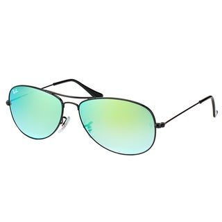 Ray-Ban RB 3362 002/4J Cockpit Shiny Black Metal Aviator Sunglasses Green Gradient Mirror Lens