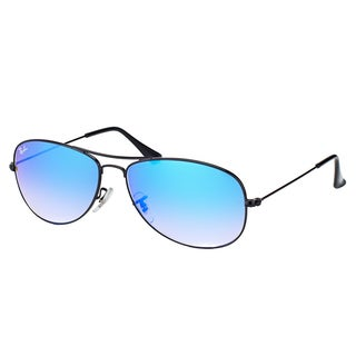 Ray-Ban RB 3362 002/4O Cockpit Shiny Black Metal Aviator Sunglasses Blue Gradient Mirror Lens