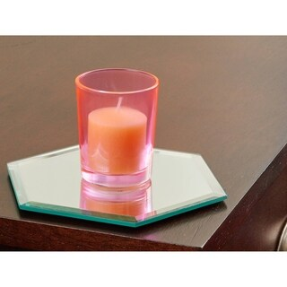5 Inch Hexagonal Mirror Candle Plate with Bevelled Edge set of 12
