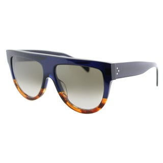 Celine CL 41026 Shadow QLT Flatop Blue Havana Plastic Fashion Sunglasses Brown Gradient Lens