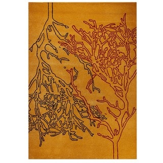 M.A.Trading Hand-Tufted Indo Vines Orange Rug (7'10 x 9'10)