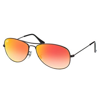 Ray-Ban RB 3362 002/4W Cockpit Shiny Black Metal Aviator Sunglasses Red Gradient Mirror Lens