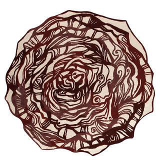 Handmade M.A.Trading Indo Hibiscus Burgundy Rug (India) - 6'0x6'0