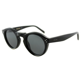 Celine CL 41370 Bevel 807 Black Plastic Round Sunglasses Grey Gradient Lens