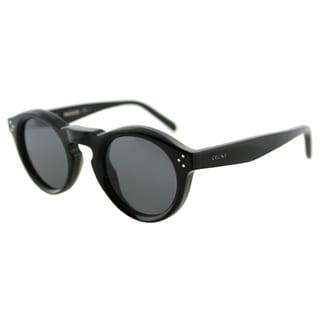 Celine CL 41370 Bevel 807 Black Plastic Round Sunglasses Grey Gradient Lens