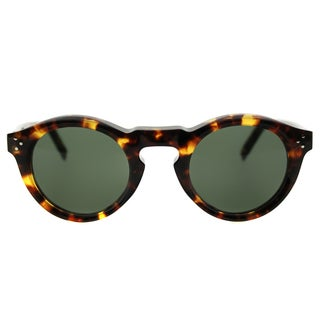 Celine CL 41370 Bevel E88 Blonde Tortoise Plastic Round Sunglasses Grey Green Lens