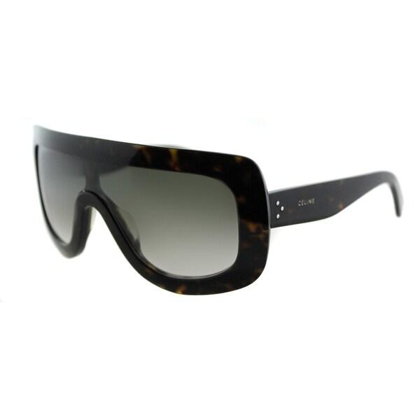 bb1267697b1 Celine CL 41377 Adele 086 Dark Havana Plastic Shield Sunglasses Green  Gradient Lens