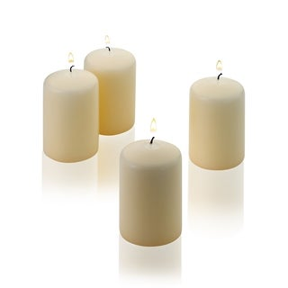 Vanilla Pillar Candle 3 Inch Tall X 2 Inch Wide Unscented Set of 4 Burn Time 18 Hours