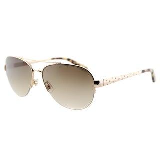 Kate Spade KS Marion 3YG Gold Metal Aviator Sunglasses Brown Gradient Lens