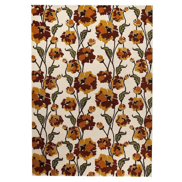 M.A.Trading Hand-Tufted Indo Fiore White/ Rust Rug (7'10 x 9'10)