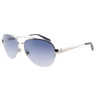 Kate Spade KS Marion YB7 Silver Metal Aviator Sunglasses Blue Gradient Lens