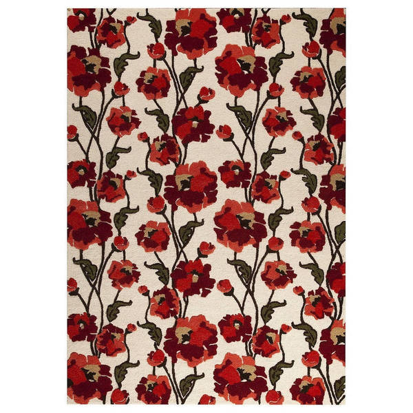 Handmade M.A.Trading Indo Fiore White/ Red Rug (7'10 x 9'10) (India)
