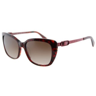 Marc by Marc Jacobs MMJ 493 M5N Burgundy Havana Plastic Cat-Eye Sunglasses Brown Gradient Lens