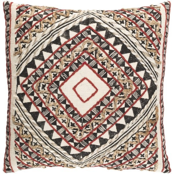 Decorative Fram 20-inch Feather Down or Poly Filled Throw Pillow