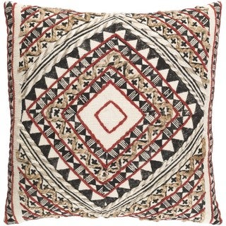 Decorative Fram 22-inch Down or Poly Filled Throw Pillow