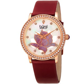Burgi Women's Quartz Crystal Lotus Leather Strap Watch with FREE GIFT - Red