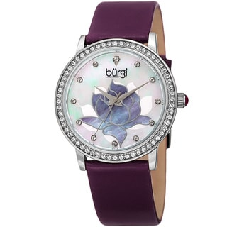 Burgi Women's Quartz Crystal Lotus Leather Purple Strap Watch