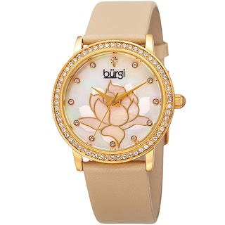 Burgi Women's Quartz Crystal Leather Strap Watch