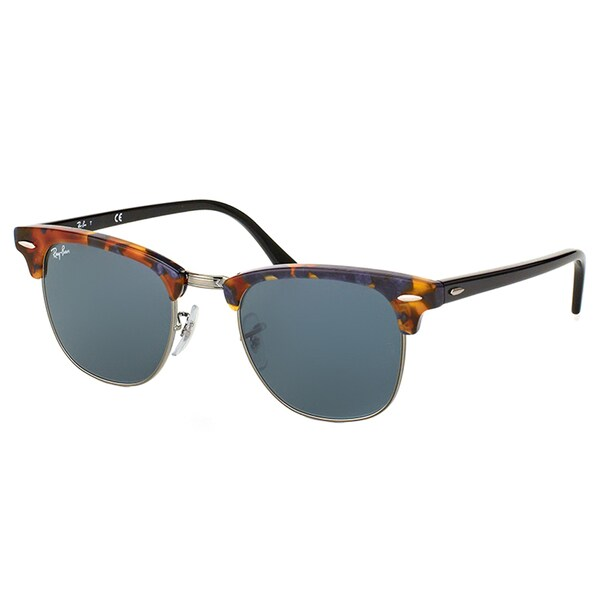 24832a7044 Ray-Ban Clubmaster RB 3016 1158R5 Spotted Blue Havana Clubmaster Plastic  Sunglasses - 51mm