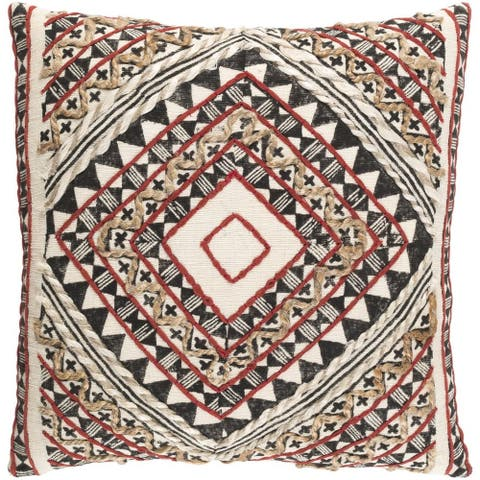Decorative Fram 18-inch Feather Down or Poly Filled Throw Pillow