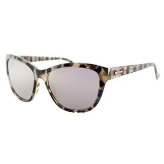 Guess GU 7398 55C Light Havana Plastic Cat-Eye Sunglasses Silver Mirror Lens