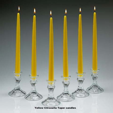Yellow Citronella Scented Taper Candles 10 Inch Tall Set Of 10 Burn 7 Hours