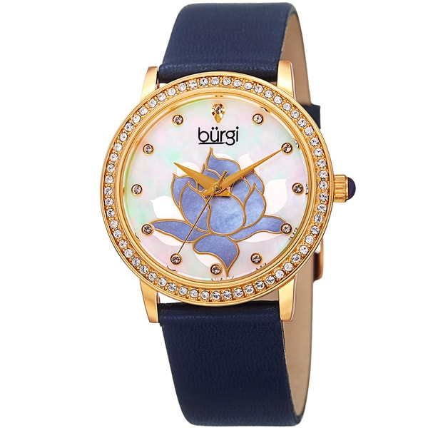 Burgi Women's Quartz Crystal Leather Blue Strap Watch with FREE Bangle