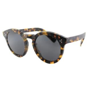 Illesteva IL Leonard2I 34 Matte Tortoise Plastic Round Sunglasses Grey Lens