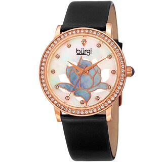Burgi Women's Quartz Crystal Lotus Leather Black Strap Watch with FREE Bangle