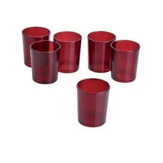 Red Frosted Glass Round Votive Candle Holders (Case of 36)