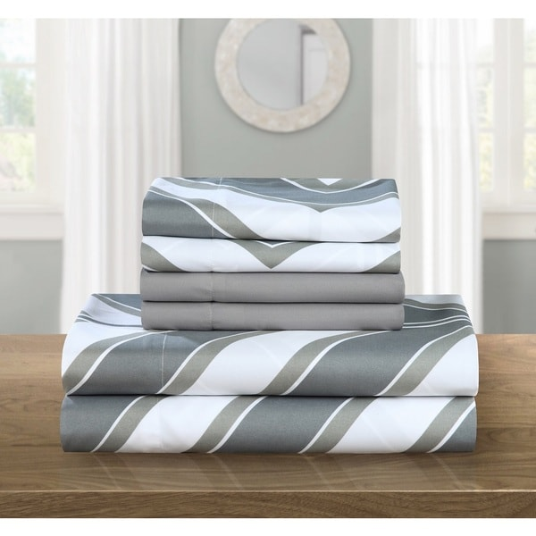 Chic Home Asher Grey Chevron 6-Piece Sheet Set