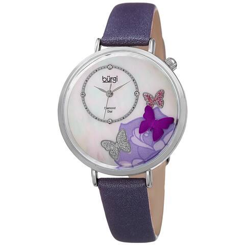 Burgi Women's Quartz Diamond Leather Purple Strap Watch