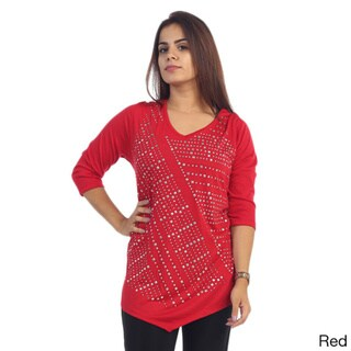 Women's Plus Size Long Sleeve Top with Rhinestones
