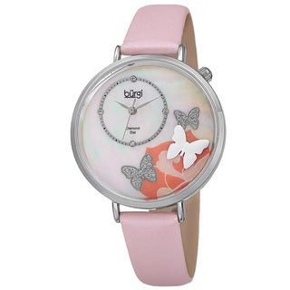 Burgi Women's Quartz Diamond Leather Pink Strap Watch with FREE Bangle