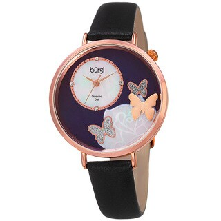 Burgi Women's Quartz Diamond Leather Black Strap Watch