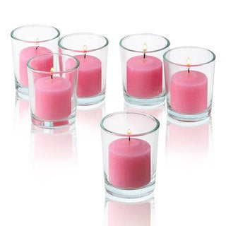 Soft Pink Unscented Votive Candles With Clear Glass Holders Set Of 24