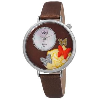 Burgi Women's Quartz Diamond Leather Brown Strap Watch with FREE GIFT