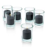 Black Unscented Votive Candle With Clear Glass Holders Set Of 24