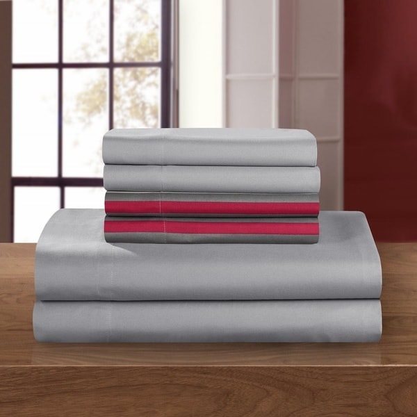 Chic Home 12-Piece Clifton Striped Printed Reversible, Sheet Set