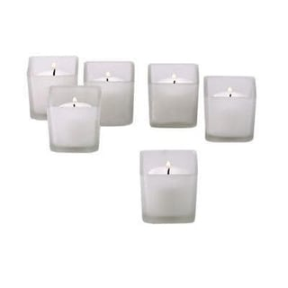 White Frosted Square Votive Candle Glass Holders (Case of 12)