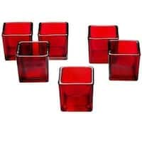 Red Glass Square Votive Candle Holders (Pack of 12)